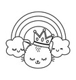 cat with crown and rainbow black and white vector image vector image