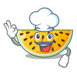 chef sliced yellow watermelon on character cartoon vector image
