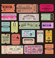 cinema or theater ticket set vintage invite vector image vector image