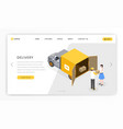 delivery postal services landing template vector image