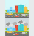 ecology city landscape set with air soil pollution vector image vector image