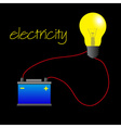 electricity circuit with light bulb and battery vector image vector image