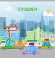 fast cars city delivery service vector image