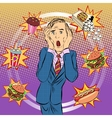 Fast food man unhealthy diet panic vector image vector image