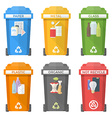 flat style colorful separated garbage bins icons vector image vector image