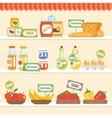 Food Collection On Shelf vector image