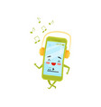 funny humanized smartphone walking and listening vector image vector image