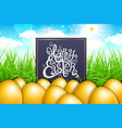 golden gold eggs in a field of grass with blue vector image vector image
