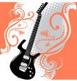 guitar floral background vector image vector image