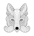 hand drawn entangle tribal fox face for adult vector image vector image