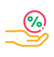 hand percent sign icon outline vector image vector image