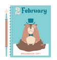 happy groundhog card background with marmot vector image vector image