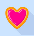 heart jelly biscuit icon flat style vector image