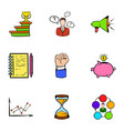 investing icons set cartoon style vector image