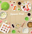 japanese cuisine traditional food with sushi vector image vector image