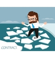 Lucky businessman on ice river vector image vector image