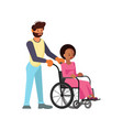 man help to young disabled african woman vector image vector image