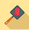 meat on grill icon flat style vector image