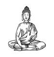 meditating buddha engraving vector image