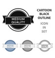 medium quality icon in cartoon style isolated on vector image vector image