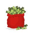 Money bag Santa Claus Big Red festive bag filled vector image vector image