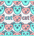 pattern with smiling cats pink and blue cats vector image