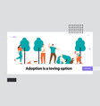 people spending time with pets outdoors website vector image vector image