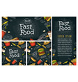 posters and seamless pattern fast food vector image vector image