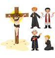 Priests and jesus figure vector image
