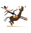 rider falls from horse isolated vector image vector image