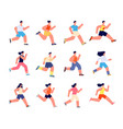 running athletes characters profile jogger vector image vector image