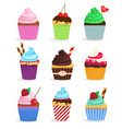set cupcakes and muffins vector image vector image