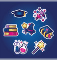 set flat stickers books and textbooks academic vector image