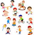 set kids with different sport activities vector image