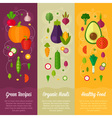 Set of concept banners with flat vegetable icons vector image