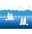 ships on the waves sailing medieval ship vector image vector image