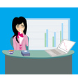 sick secretary working vector image vector image