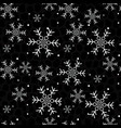 snowflakes on a black background christmas vector image vector image
