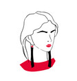 stylized outline portrait of elegant fashionable vector image
