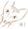 template greeting card doodle cat says hi vector image vector image