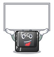 up board cartoon esc button attached to computer vector image vector image