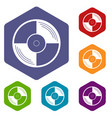 vinyl record icons set hexagon vector image vector image
