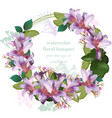 watercolor tropic floral beauty wreath card vector image