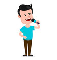 young man with microphone singing vector image vector image