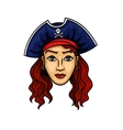 Cartoon pirate woman in hat with Jolly Roger vector image