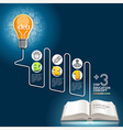 Education template Light bulb and doodles icons vector image