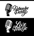 karaoke hand written lettering logo emblem with vector image