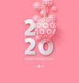 2020 new year sign with 3d hanging baubles vector image