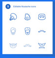 9 mustache icons vector image vector image
