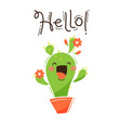 a happy cactus greets you hello vector image vector image